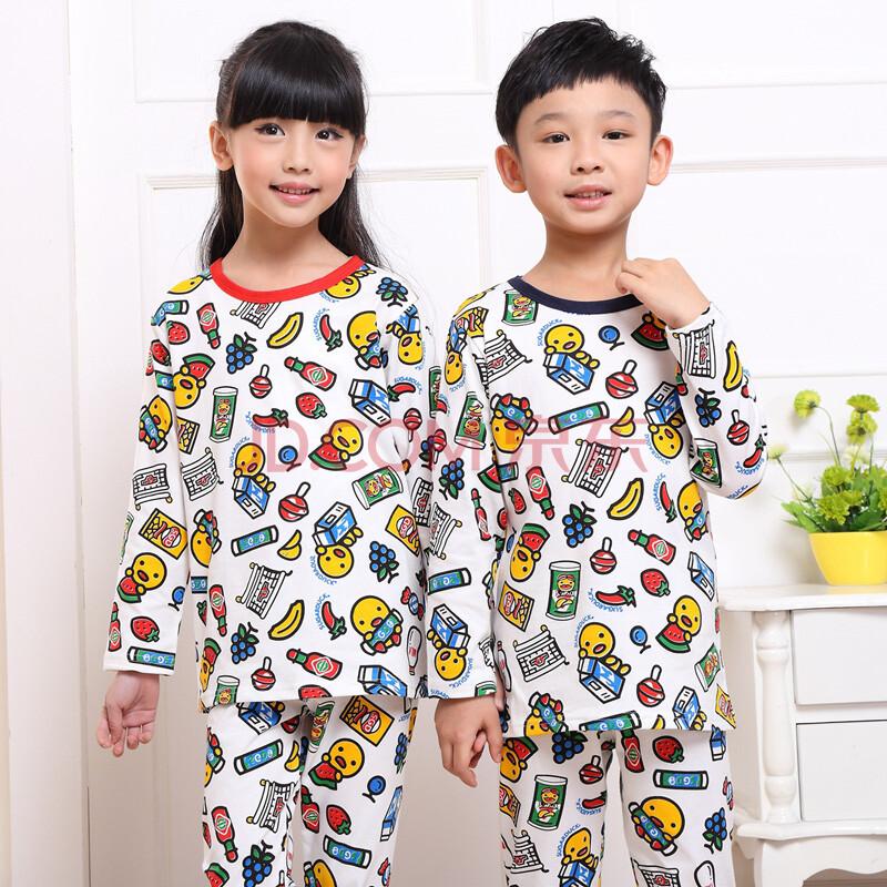 靓舒帛秋季儿童睡衣女童男童纯棉长袖套装小女孩中大