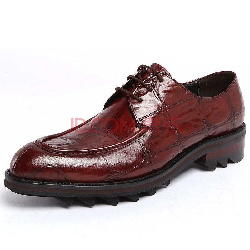 汤尼沃珂牛皮男鞋系带尖头皮鞋厚底韩版潮鞋英伦透气单鞋商务正装鞋子