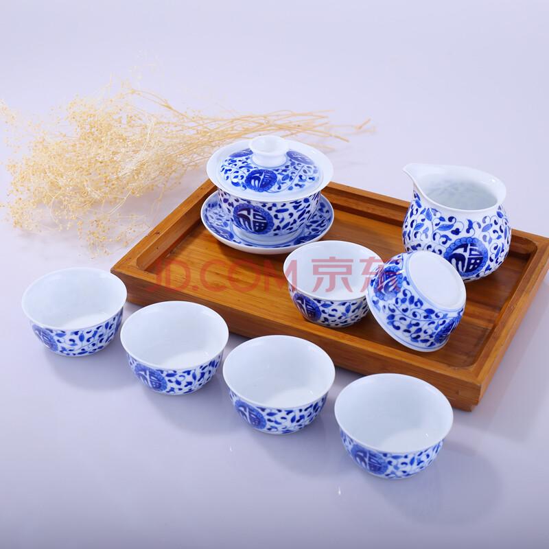景德镇陶瓷 青花瓷 手绘 釉下彩 全手工制作 8头 高白