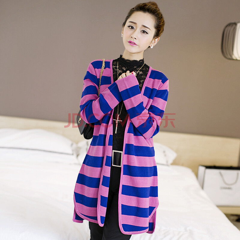 薇薇家 2014新款秋装针织衫 女 开衫长款条纹毛衣宽松