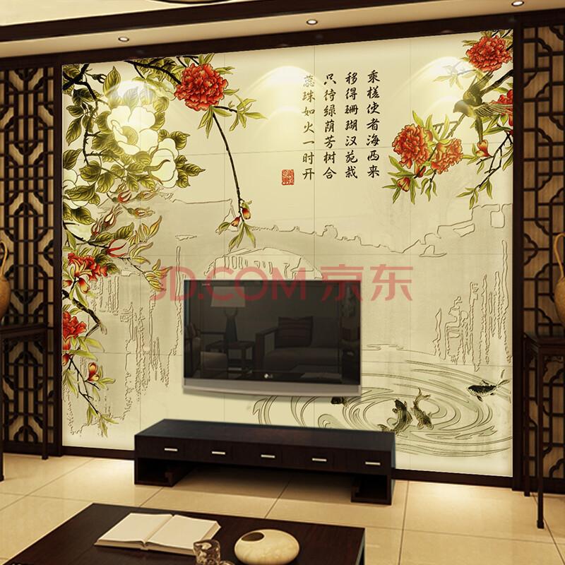 盛榴报喜丨瓷砖背景墙 现代客厅沙发电视背景墙 陶瓷内墙砖 平面哑光图片
