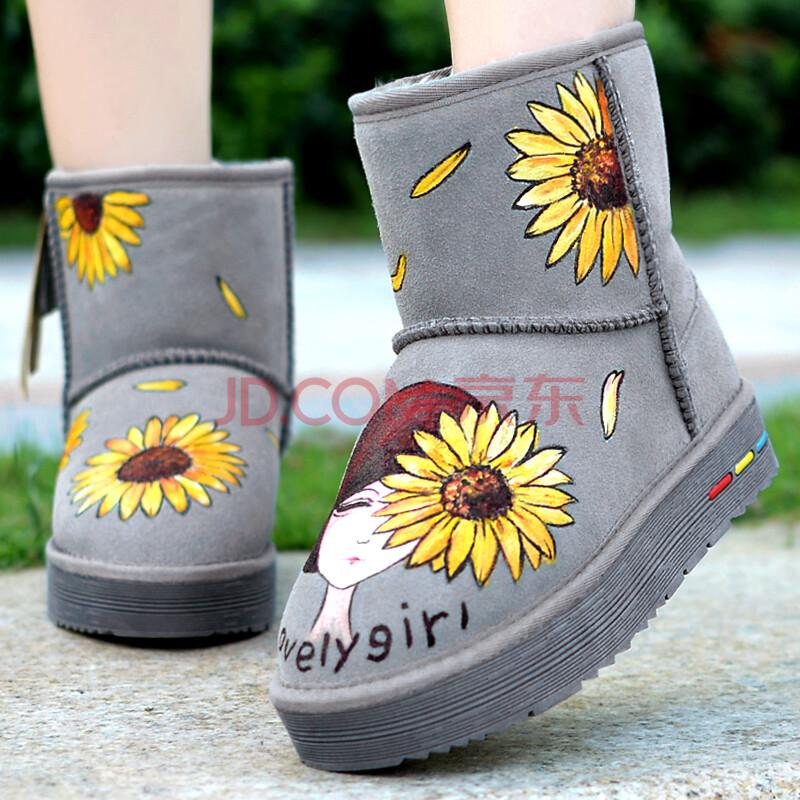 卜丁手绘向日葵真皮女雪地靴防滑保暖厚底增高牛皮靴文艺小清新中筒