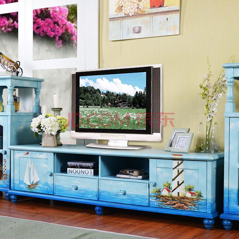 百思宜地中海风格手绘帆船电视柜 手绘电视柜