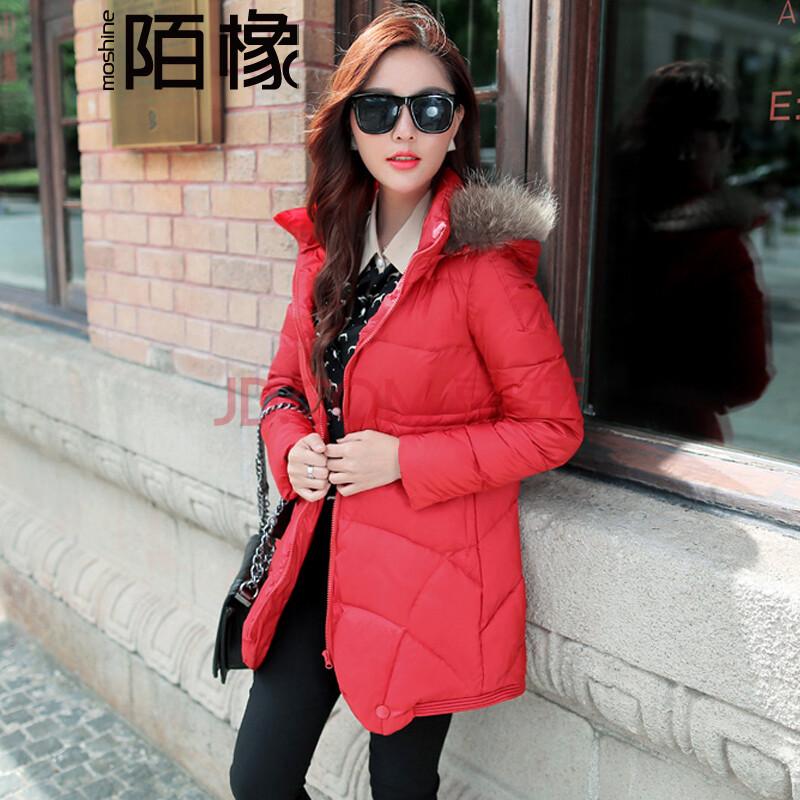 陌橡2014新款冬装韩版中长款斗篷a字修身显瘦 加厚保暖貉子毛领羽绒服