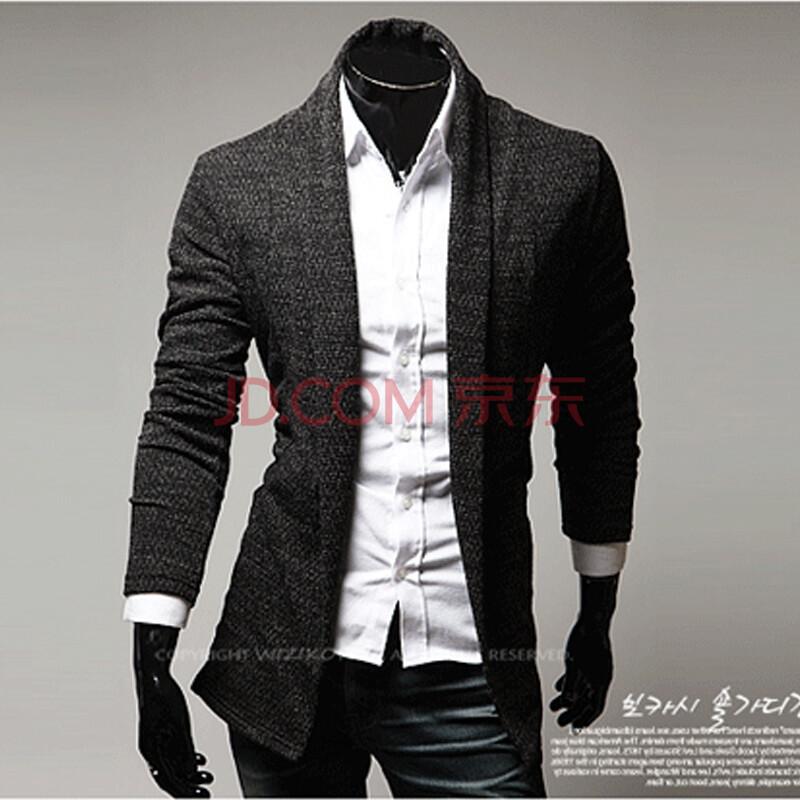 戴维李 2014韩版开衫针织衫外套毛衣男 披肩式无扣针织开衫 韩版男士