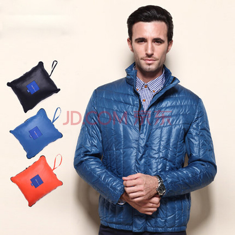 busen步森男装薄款修身羽绒衣保暖羽绒服冬款羽绒服男士休闲外套 蓝色图片