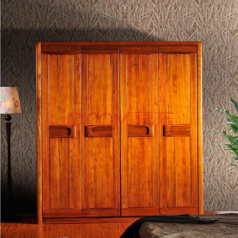 嘉文 实木衣柜 高端胡桃木纯实木衣柜 特价四门衣柜 现代中式家具