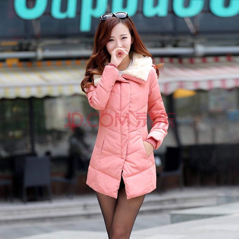 实拍棉衣2014冬季新款韩版植绒收腰羽绒棉服中长款女棉衣棉服 防寒服
