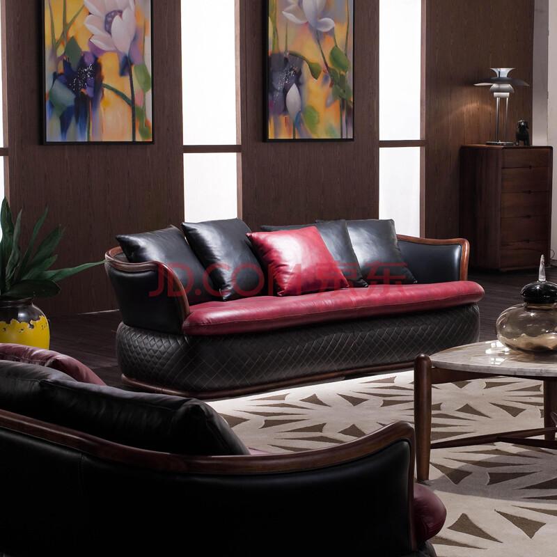 依罗斯丹高档真皮沙发 实木沙发组合 北美黑胡桃木沙发后现代155 双人
