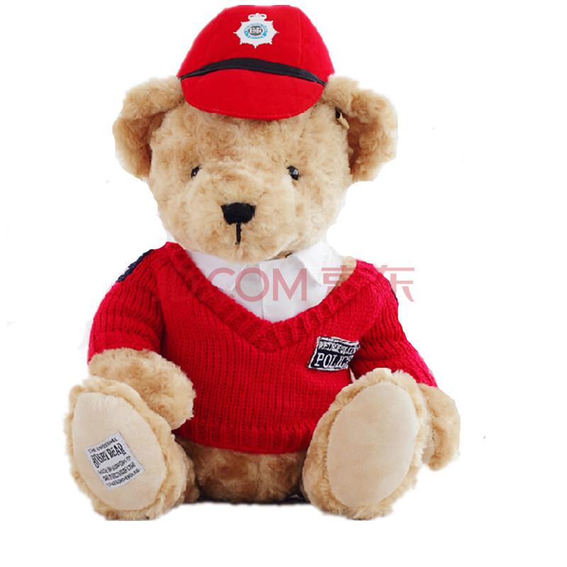 russ皇家伦敦正版警察积木熊情侣泰迪熊公仔毛绒玩具布娃娃红色摆件42047有几块毛衣图片
