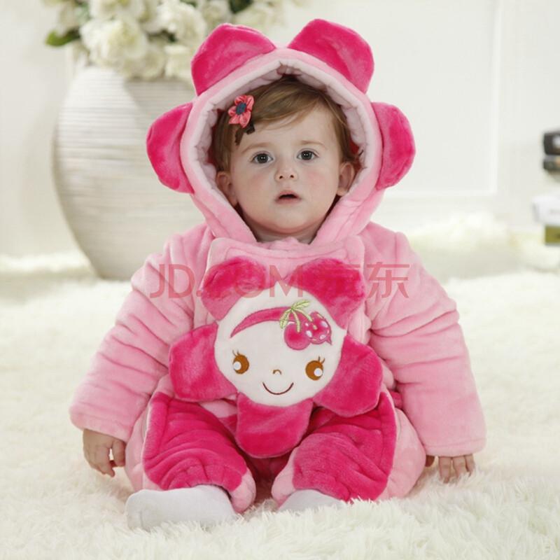 冬款男女宝宝动物造型三层加厚保暖外出连体衣爬服儿