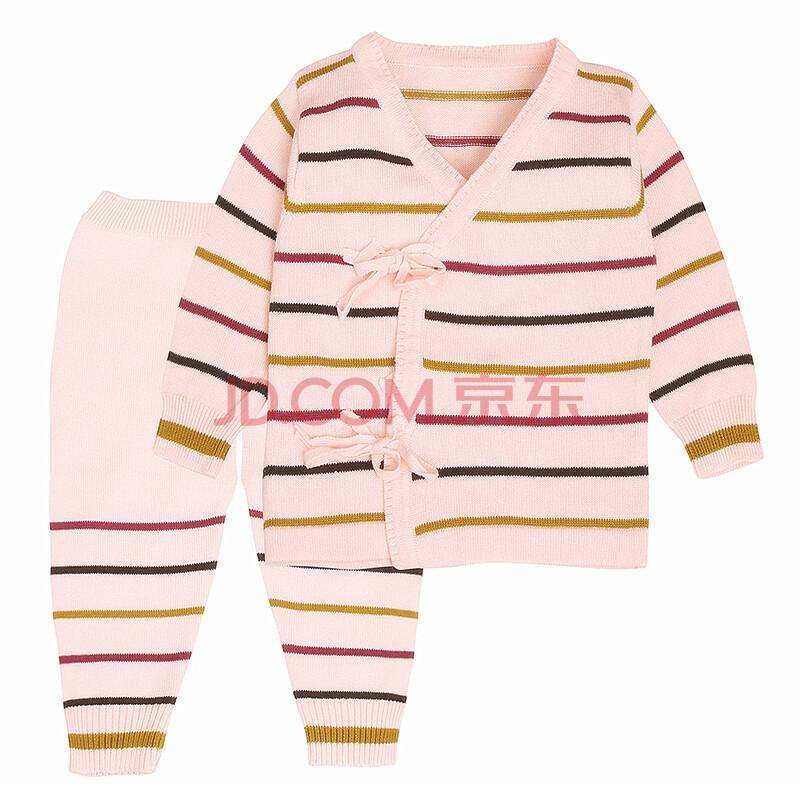素蕴新生儿和尚服婴儿纱衣 宝宝毛衣 系带开裆线衣套装c12 粉红色 59