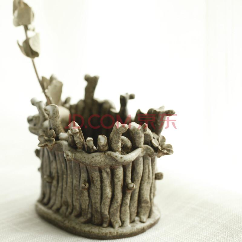 绘本 栅栏风光创意手工精品树桩梅花瓶多肉盆收纳盒景德镇绘本陶瓷