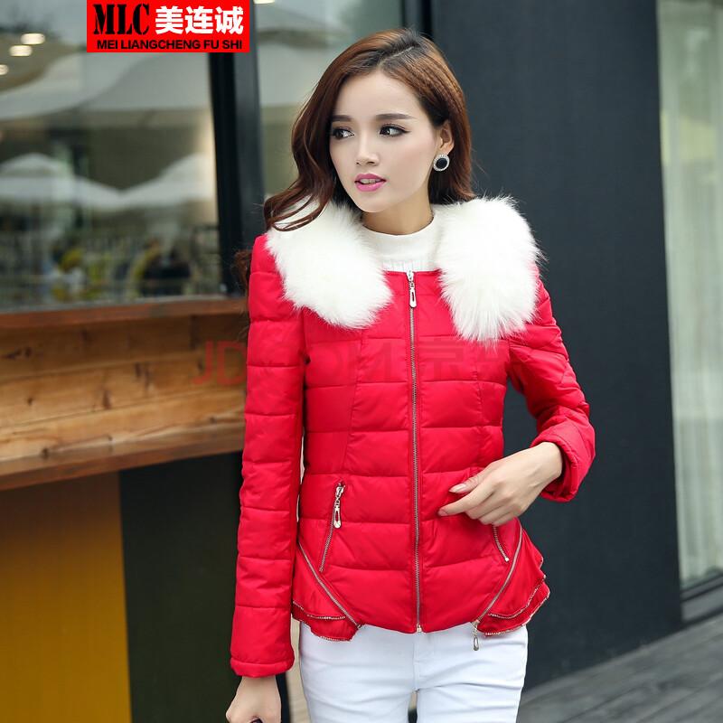 2014冬装新款棉衣女短款加厚棉服韩版修身花边女小棉袄外套潮 大红色