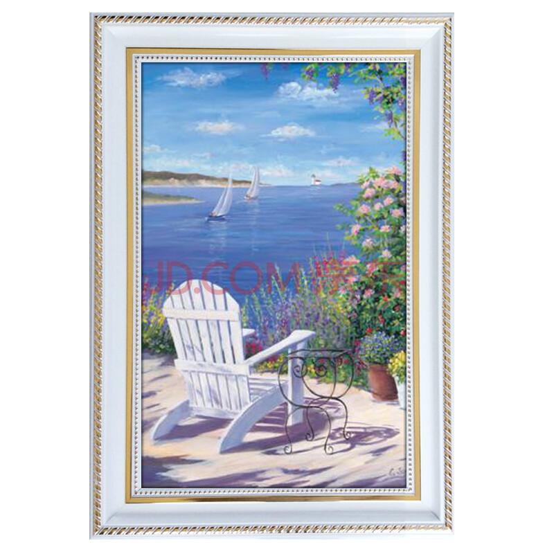 欧式白色风景客厅卧室餐厅玄关有框装饰壁挂画大海