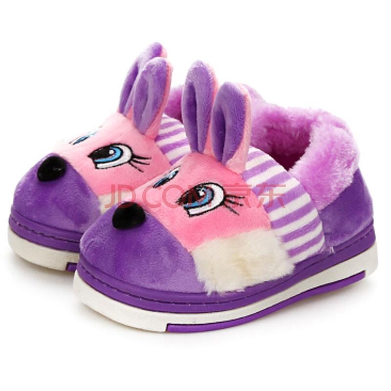 新款儿童宝宝家居棉鞋秋冬可爱小白兔卡通包跟