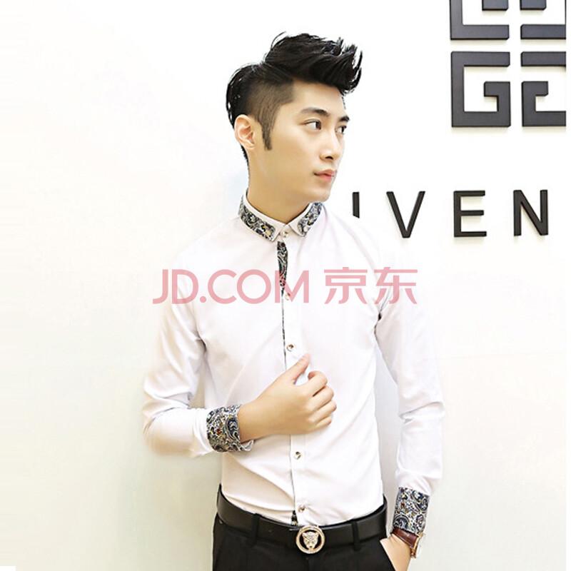 格蓝凯 2014男士新款花衬衫韩版修身碎花衬衣休闲发型师衬衫男高品质