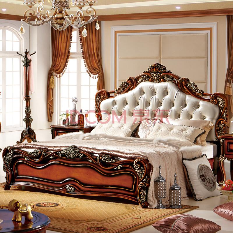欧式实木床 美式古典家具高档奢华真皮