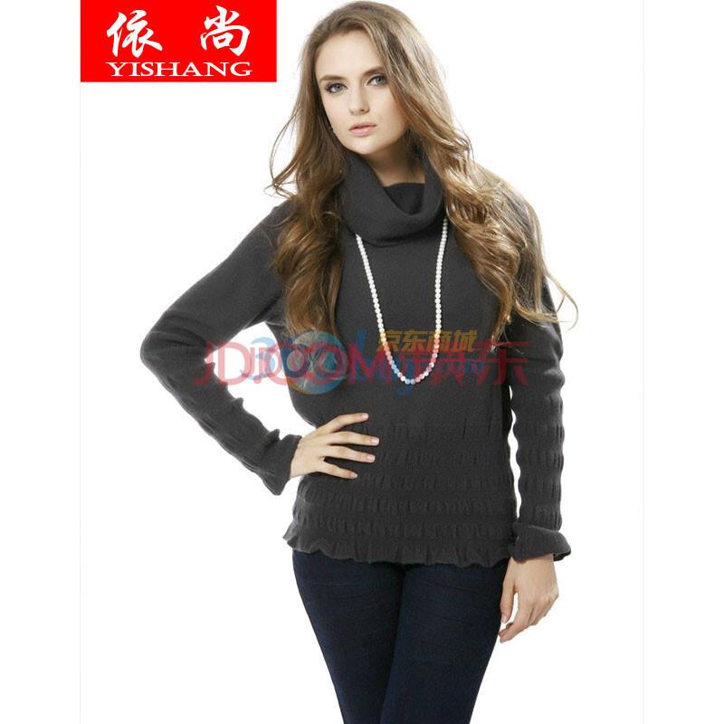 依尚女装秋冬新款韩版时尚显瘦羊绒衫盆领女式喇叭袖毛衣针织衫女士纯图片