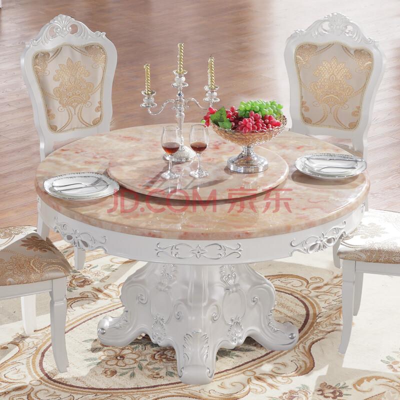 法伦堡 天然大理石餐桌 大理石圆餐桌 欧式实木圆桌椅 法式田园1.图片