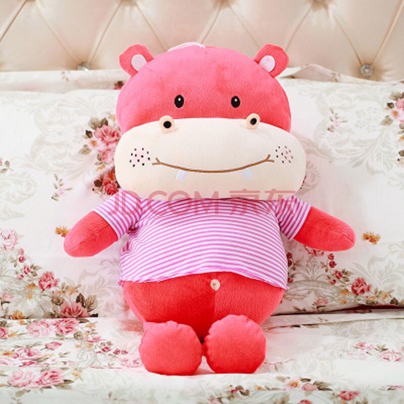大眼猫 可爱情侣河马大抱枕公仔可爱小河马玩偶娃娃毛绒玩具礼物 粉色