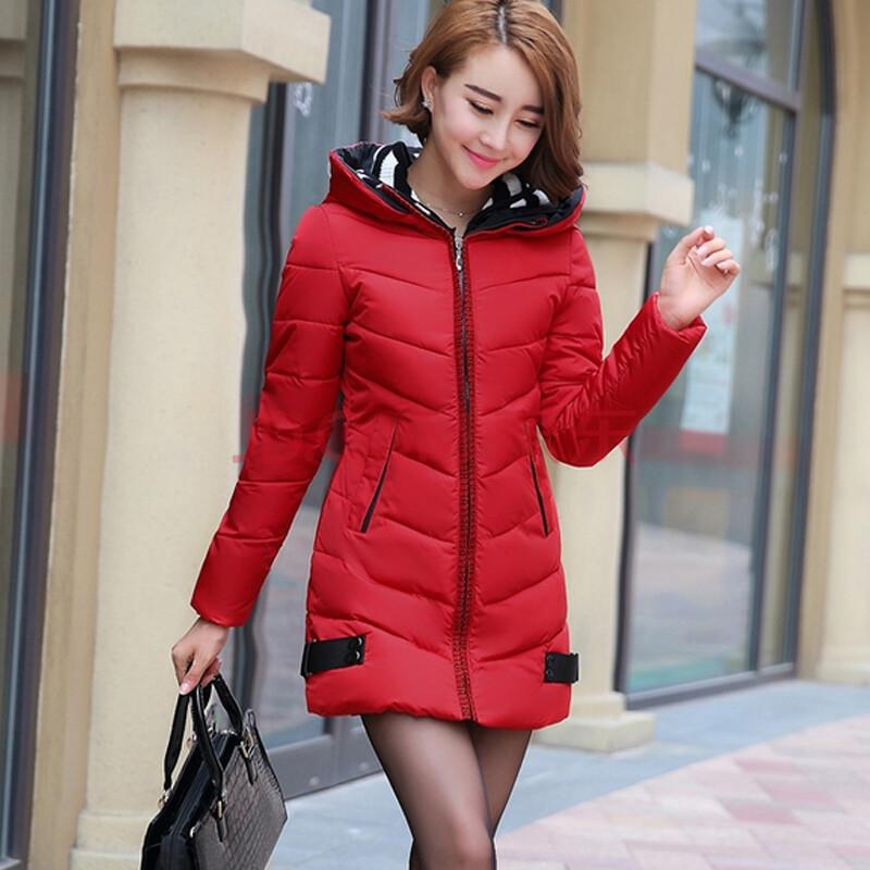 女���9j�_秀美女人 2014冬季韩版修身双帽中长款羽绒棉服女棉j衣d001d100#1803