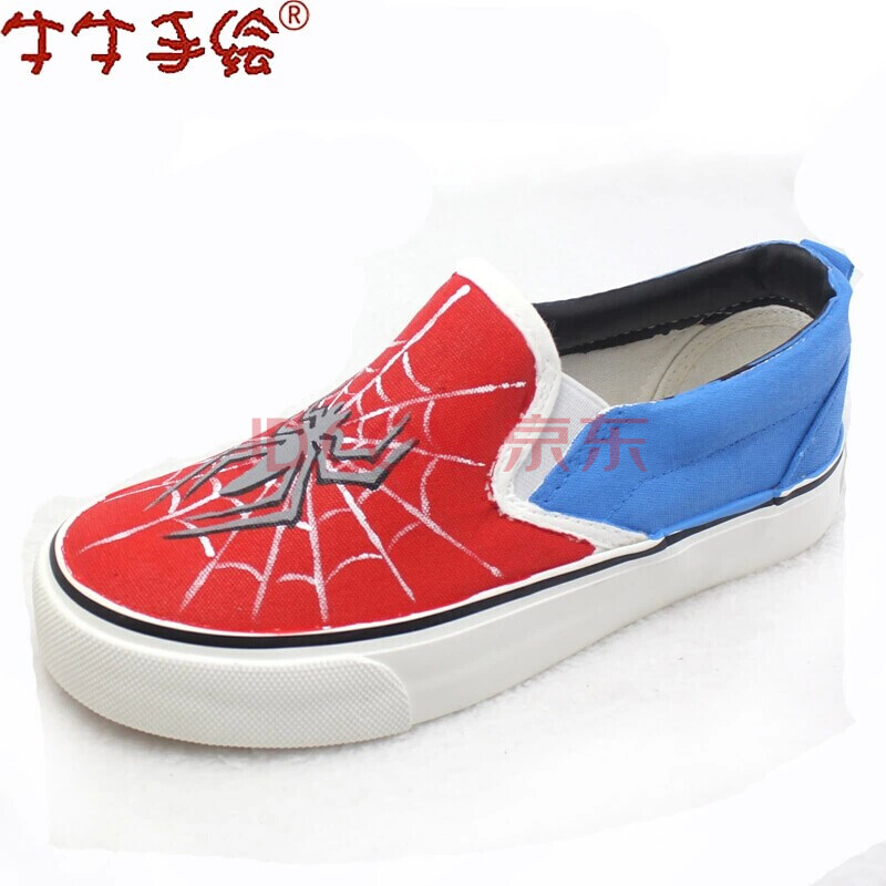 新款包邮牛牛手绘鞋 无带套脚懒人帆布鞋 男童女童鞋亲子大童小童鞋