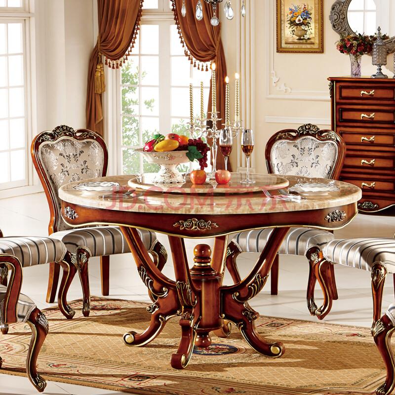 罗凯芬尼 简欧式餐桌 美式实木圆桌 楸木色餐厅餐台 八仙桌 高仿