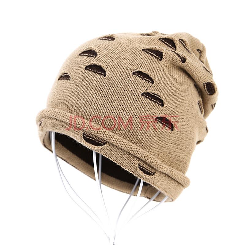 kuukaa男士毛线帽子韩版潮帽破洞款秋冬季保暖护耳针织帽毛线帽 h5037