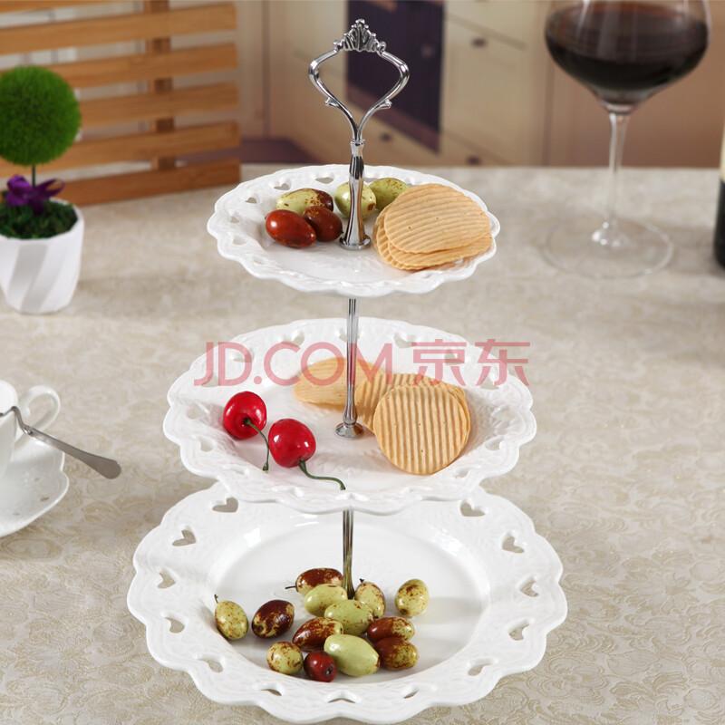 【中凰】中凰出口欧式餐具奶白浮雕双层三层陶瓷器图片