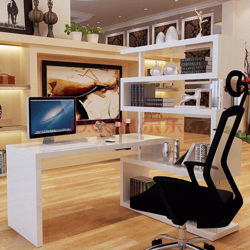 单人书柜书架组合 卧室烤漆转角书桌 书房创意时尚写字台 白色 免漆