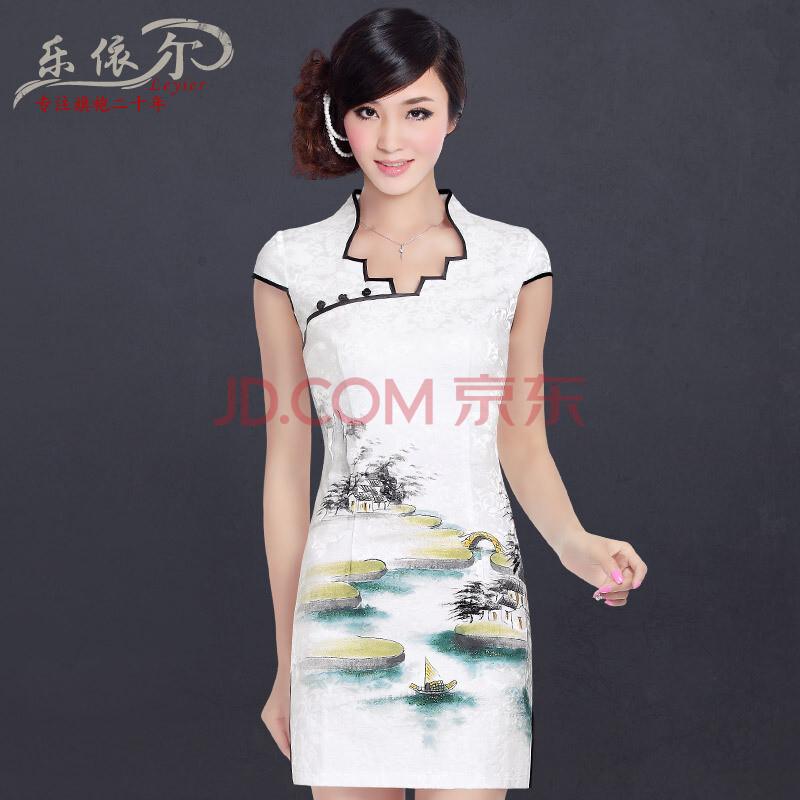 乐依尔2013新款中式复古手绘短袖旗袍裙改良时尚日常旗袍裙女 夏 白色