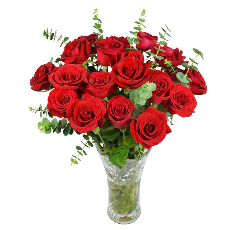 中礼鲜花速递 玫瑰花瓶插花束 家挺摆花 居家用花 送妻子礼物 19朵红