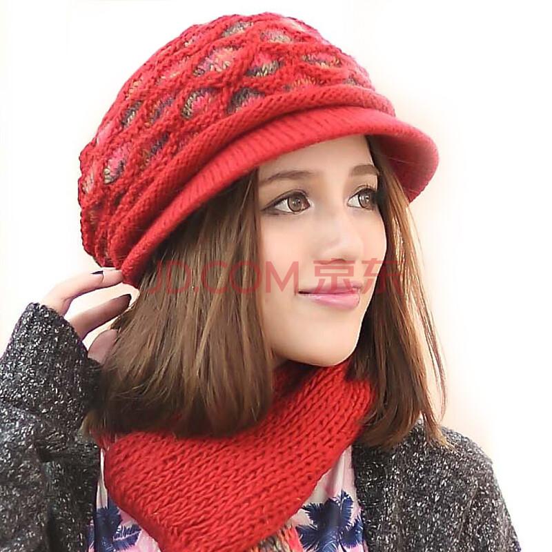 旺角16号女手工编织毛线帽子围巾格格帽檐两件套 格格