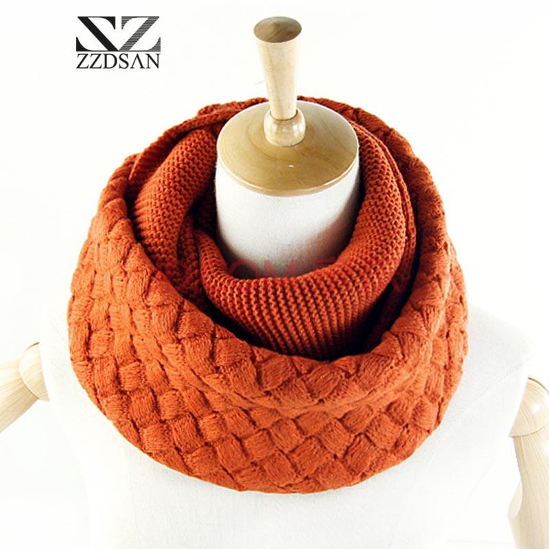 新款韩版粗毛线女士礼品围巾保暖针织围脖套头加厚脖套 菱形铁红w205