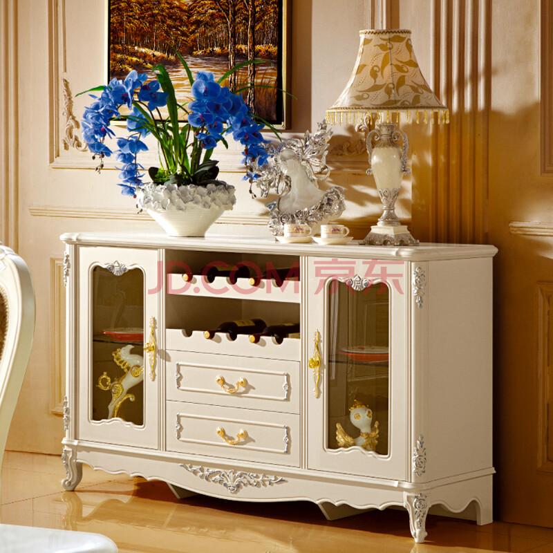 欧雅法兰家具欧式餐边柜描银复古碗柜实木雕花茶水柜图片