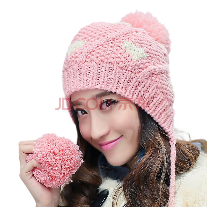 贵伦美韩版时尚女士七彩针织帽子 女 秋冬天 心形针织