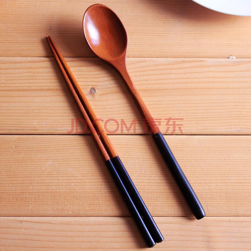 川岛屋 日式个性撞色筷勺套装 精品筷子勺子环保餐具 黑柄两件套