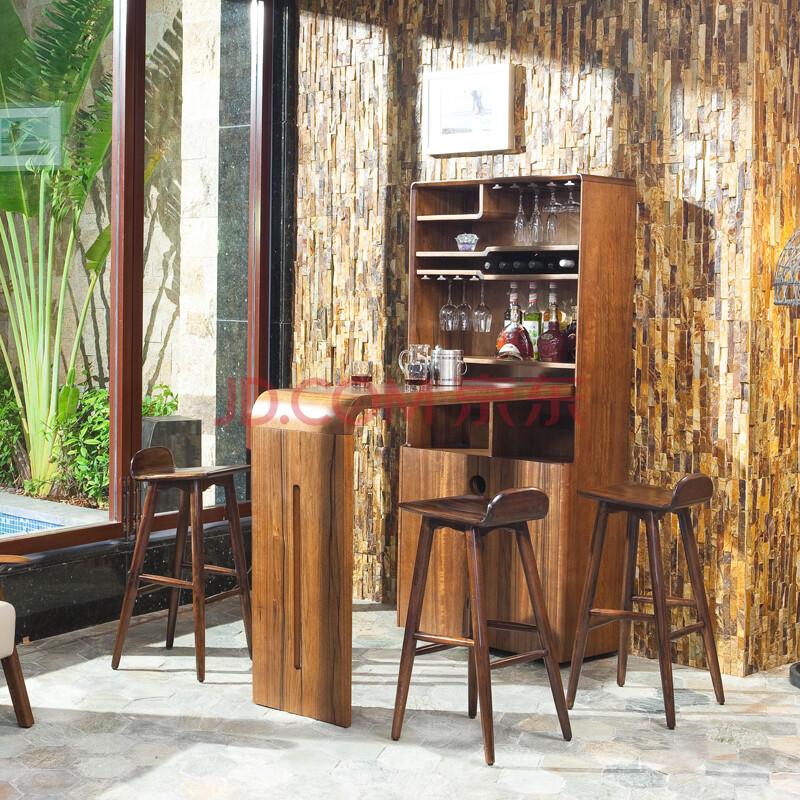 依罗斯丹 高端客厅酒柜 北美黑胡桃木酒吧柜 北欧宜家风格间厅柜 酒吧