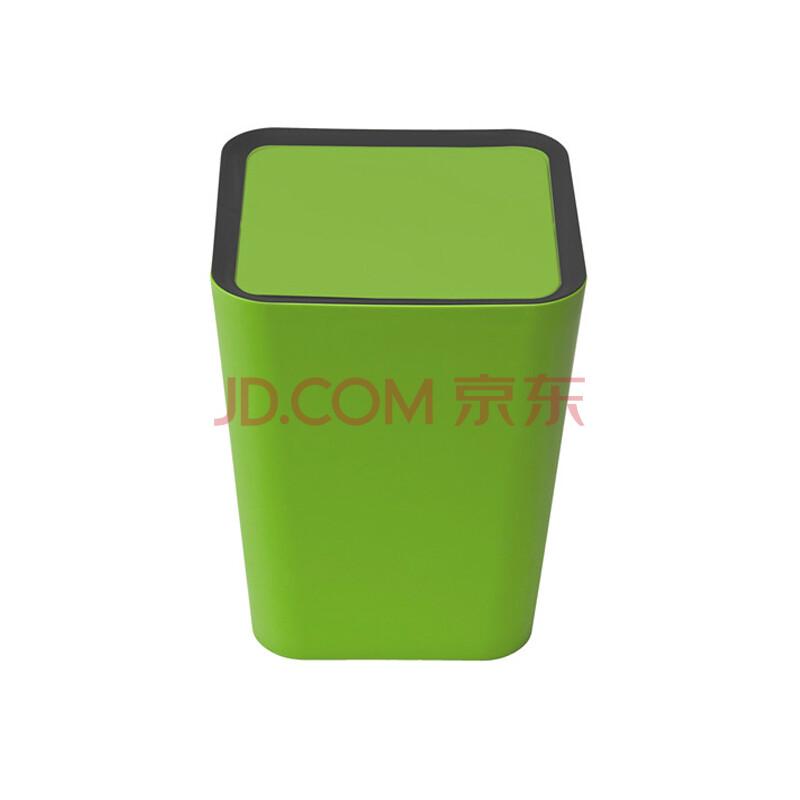 泰国qualy多彩时尚乐色筒垃圾桶创意进口翻转盖垃圾桶大号 白色 方