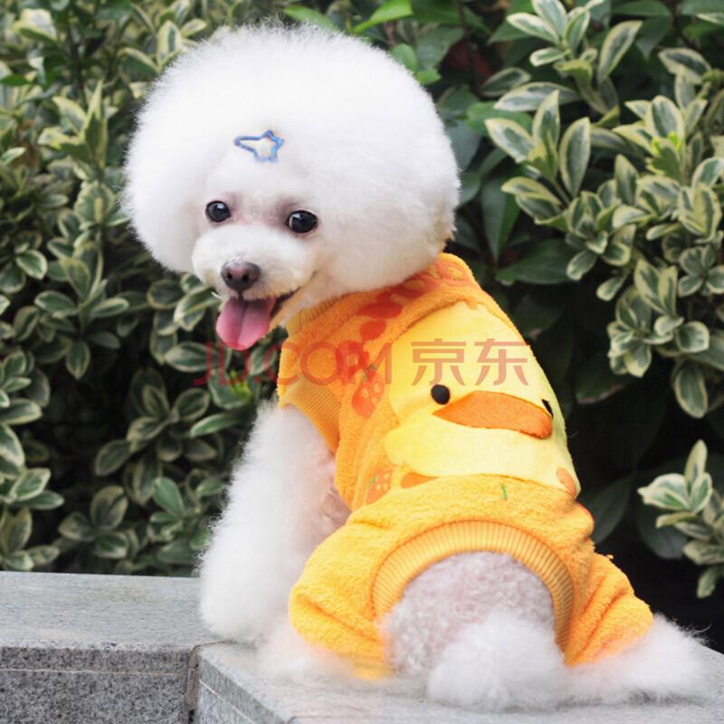 db 宠物四脚衣服 狗狗卡通图案衣服 贵宾泰迪衣服 珊瑚绒狗衣服 小黄