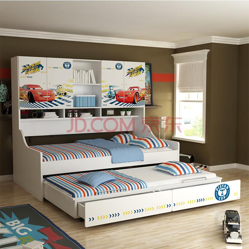 组合儿童床 侧柜床 储物床