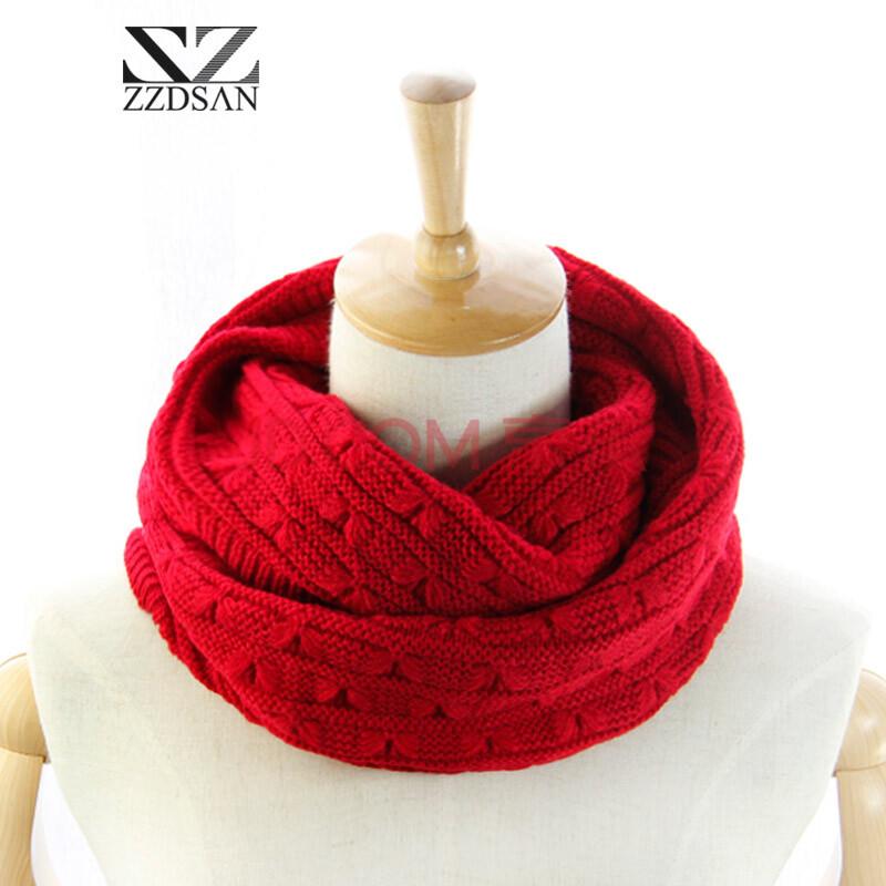 新款韩版粗毛线女士礼品围巾保暖针织套头加厚脖套 小蝴蝶红色w204
