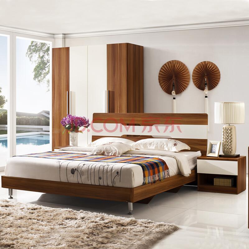 爱制造 北欧简约现代风格 双人床 板式床 高箱床1.5米图片