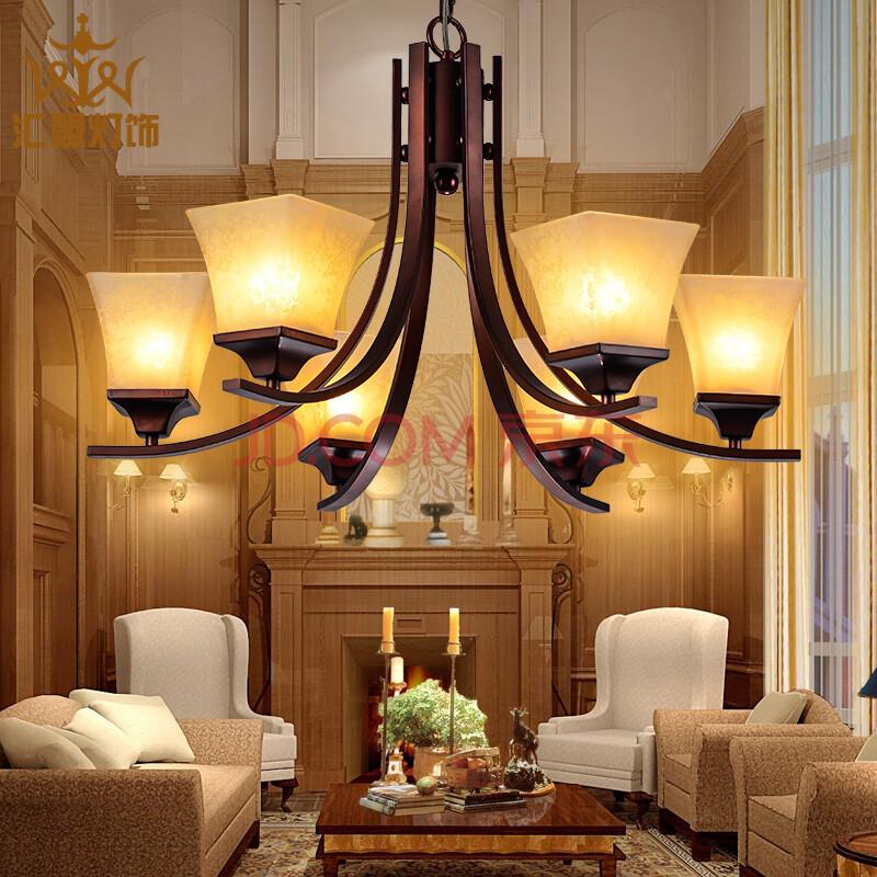 汇盟美式吊灯乡村铁艺简约现代复古餐厅客厅卧室饭厅吊灯灯具灯饰7002图片