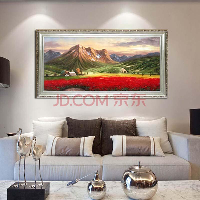 水竞风景油画纯手绘欧式壁画客厅高档有框画现代新