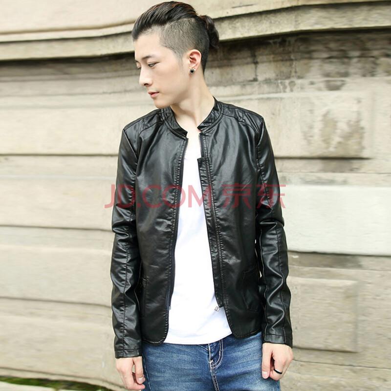 014秋季新款韩版时尚潮流立领修身皮衣男 黑色-修身皮衣男 修身皮衣