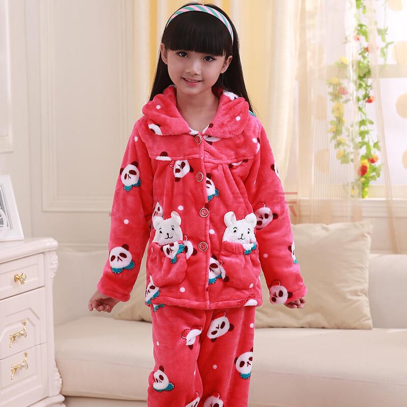 茵珠丽 冬季新款可爱时尚卡通儿童高级水貂绒童装睡衣