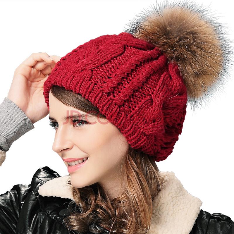 兰诗雨秋冬毛线女帽手工编织獭兔毛帽子lsym590051 红色