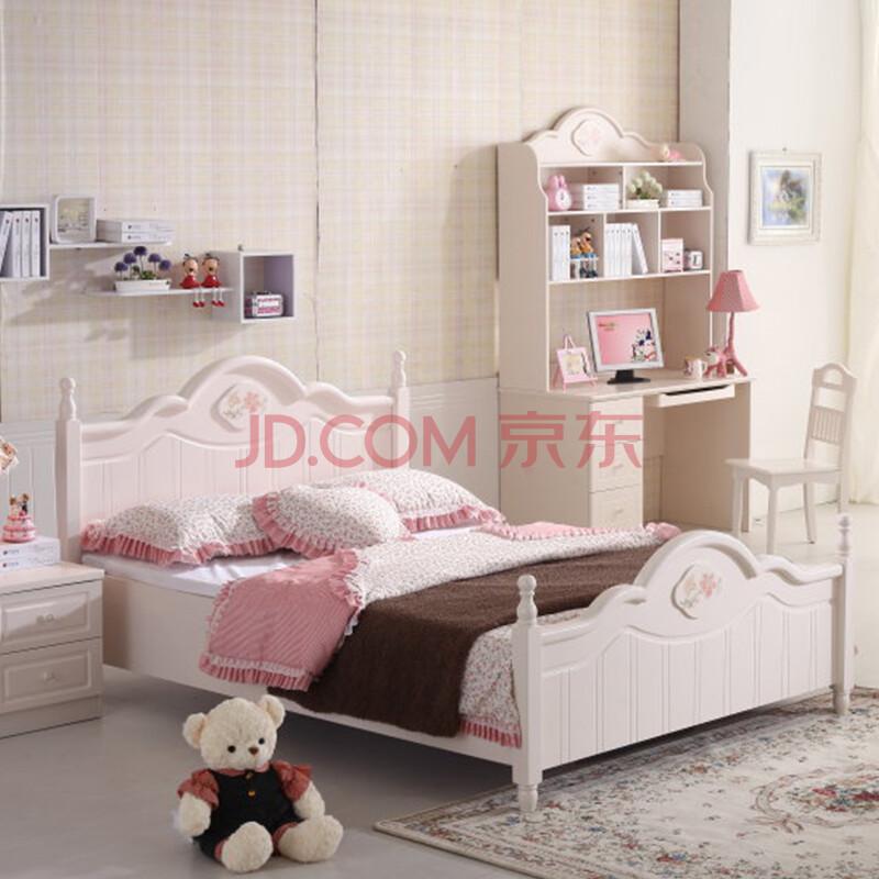 韩式田园儿童房家具公主女孩儿童床储物双人床1